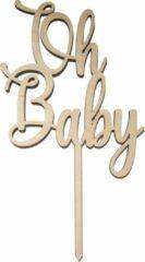 Bruine Laserfabrique Houten Taarttopper Oh Baby - Taart decoratie - geboorte of gender reveal