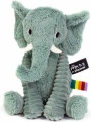Les Deglingos knuffel olifant groen 20 cm
