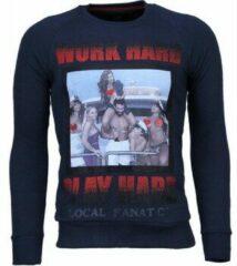 Blauwe Local Fanatic Bilzarian - Rhinestone Sweater - Navy Sweaters / Crewnecks Heren Sweater Maat 3XL