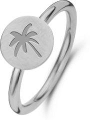 CO88 Collection Sense 8CR 10014 54 Stalen Ring met Palmboom - Maat 54 - Zilverkleurig