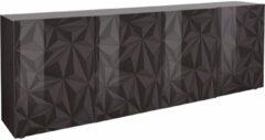 Antraciet-grijze Pesaro Mobilia Dressoir Kristal met 4 deuren 241 cm breed in hoogglans antraciet