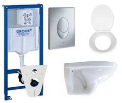 Witte Adema Classic toiletset compleet met inbouwreservoir, softclose zitting en bedieningsplaat mat chroom