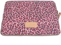 Lisen Laptop Sleeve tot 13 inch - 34 x 24 x 1,5 cm - Panterprint - Roze/Zwart