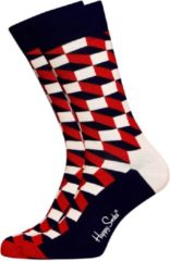 Donkerblauwe Happy Socks sokken Filled Optic blauw rood wit Unisex - Maat 36-40