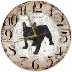 Bruine Creatief Art Houten Klok - 30cm - Hond - Buldog zwart