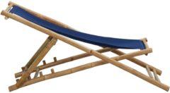 VidaXL Ligstoel bamboe en canvas marineblauw