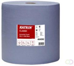 Blauwe KATRIN CLASSIC industrierol 1000 doeken per rol, 3 laags, vel: 38 x 38 cm (rol 1000 vel)