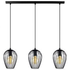 Zwarte EGLO Vintage Newtown - Hanglamp - 3 Lichts - Lengte 700mm. - Zwart