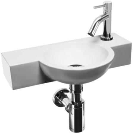 Afbeelding van L'aqua Fonteinset Magus Toilet 23x40x8cm Wit Keramiek, compleet met verchroomde kraan en sifon