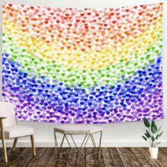 Paarse Ulticool - Regenboog Vlag Decoratie Hartjes - Wandkleed - 200x150 cm - Groot wandtapijt - Poster