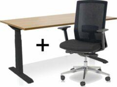 Lineaflex MRC Zit-sta bureau elektrisch verstelbaar + ERGO Bureaustoel | ARBO PRO Thuiswerkset | frame bureau zwart - bureaublad havanna | 140x80 cm