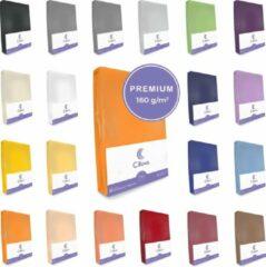 Cillows Premium Jersey Hoeslaken voor Matras - 180x200 - 200x220 cm - (tot 25 cm hoogte) – Oranje
