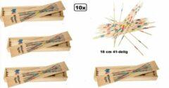 Thema party 10x Mikado hout 18 cm 41-delig - spel speelgoed sinterklaas kerst thema feest kado verjaardag schoencadeautjes sinterklaas