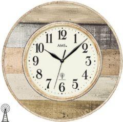 Creme witte AMS 5975 Wanduhr klassisch Funkwanduhr Holzdekor- Serie: AMS Design