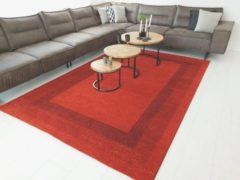 Flycarpets Minori Modern Lijstmotief Rood Vloerkleed 80 X 150 Cm