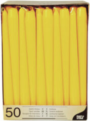Conpax Candles 50x stuks Voordeelverpakking dinerkaarsen geel - 25 cm - 7 branduren