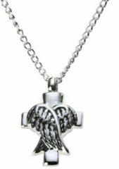 Zoëies® as ketting zilverkleurig met kruis en engel vleugels