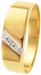 Lucardi 14 Karaat Geelgouden Zegelring - Met Diamant - Maat 63