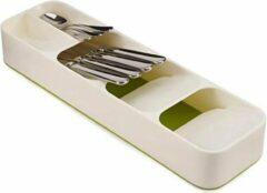 Merkloos / Sans marque Luxe bestekbak - Wit - Kunststof - 40 x 11 cm - Verstelbaar - Bestekcassette - Besteklade - Bestekmand - 5 vakken!