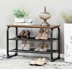 MIRA home Schoenenrek | Bijzettafel | Bank | Vintage | Hout | Metaal | Meubilair | Industrieel| ondersteuning | 66x30x47.5cm| Bruin | Zwart