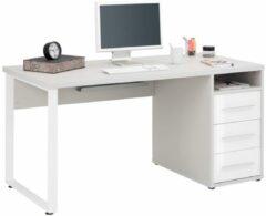 Bermeo Bureau Banco 150 cm breed - Platina grijs met wit