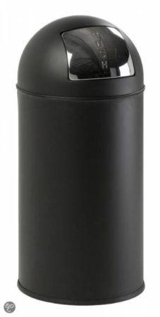 Afbeelding van Zwarte Pushcan Afvalbak Met Pushdeksel - Mat Zwart - EKO