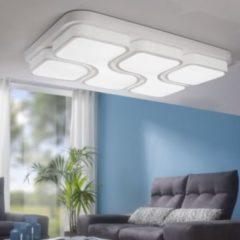 Wohnling Design LED-Deckenleuchte GEOMETRIC Deckenlampe weiß 48W A+ 78x9x53 cm Design Lampe 4080 Lumen warmweiß Leuchte Metall mit 4 Lichtfeldern IP
