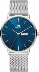 Zilveren Danish Design edelstalen herenhorloge Akilia Day/Date Royal Blue Mesh IQ68Q1267