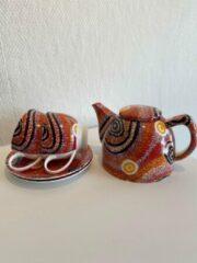Paarse Alperstein Designs theeset - Otto Jungarrayi Sims - Aboriginal collectie