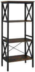 Maison Home Maison's Boekenrek - Vakkenkast - Opbergkast - 4 planken - Industrieel - Bruin - Zwart - 56x34x131