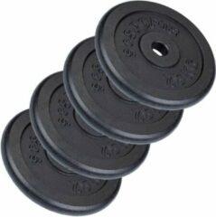 Zwarte ScSPORTS® 30 kg Halterschijven set - 4 x 7,5 kg - 30 mm - Gietijzer - Gewichten