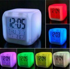 Witte TKSTAR LED 7 Kleur Veranderen Digitale Wekker Nacht Gloeien Kalender Temperatuur Bureau Kubus Klok Voor Kinderen