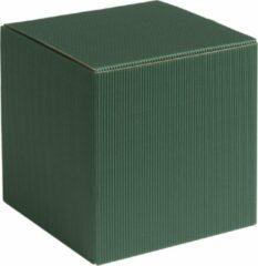 Papyrasse Geschenkdoosjes vierkant-kubus karton 09x09x09cm DONKERGROEN (100 stuks)
