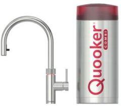 Roestvrijstalen Quooker Flex keukenkraan koud, warm en kokend water inclusief uittrekbare uitloop met Combi reservoir RVS 22XRVS