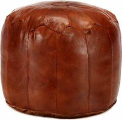 Bruine VidaXL Poef 40x35 cm echt geitenleer tan
