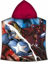 Marvel Avengers badcape/badponcho met rode capuchon voor jongens - Marvel - badcapes/zwembadcapes/strandponcho voor jongens