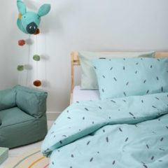 Witte Fresh&Co  Kids Fresh&Co Kids - Junior Kinderdekbedovertrek Mini Stripes - Blauw 100x135 cm - Katoen - Kinderdekbedovertrek met 1 Kussensloop