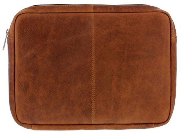 "Afbeelding van Bruine Aktetassen Plevier Laptop Sleeve Volnerf rundleer 12"" Cognac 491-3"