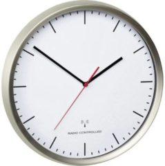 TFA Dostmann 60.3521.02 Wandklok Zendergestuurd 30.5 cm x 4.8 cm RVS (geborsteld) Slepend uurwerk (geluidsloos)
