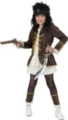 Bruine Funny Fashion Piratenkostuum Florence voor meisjes - Verkleedkleding - Maat 164