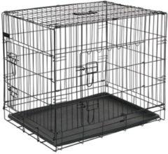 Merkloos / Sans marque Hondenbench 106x71x77 cm metaal zwart met bijpassend vetbed