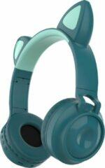 MeGoo Kinder hoofdtelefoon - koptelefoon Bluetooth met led kattenoortjes miauw blauw - petrol