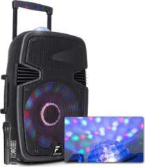 Zwarte Fenton FT15JB mobiele Bluetooth speaker met Jelly Ball en UFO LED lichteffecten, draadloze