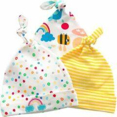 Blauwe JillyBee - Newborn - Mutsje - Mutsjes - 3pack - Stipjes - Gestreept - Regenboog