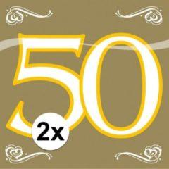 Goudkleurige Folat 2x Servetten 50 jaar goud 20 stuks