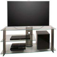 TV-Rack Lowboard Konsole Subwoofer Fernsehtisch TV Möbel Bank Glastisch Tisch Schrank 'Subuso VCM Silbernes Aluminium / Klarglas