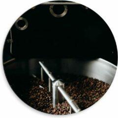 Grijze KuijsFotoprint Dibond Wandcirkel - Koffiebonenmachine - 50x50cm Foto op Aluminium Wandcirkel (met ophangsysteem)