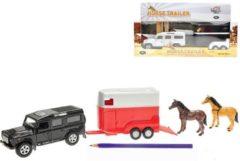 Rode Kids Globe Pull-Back Landrover met Paardentrailer + 2 Paarden Assorti