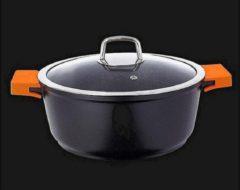 Marble soep/braadpan - Met glazen afdekplaat zwart - voor inductie 40 CM 15 Liter- steinmeijergermany