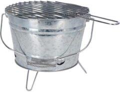 MikaMax BBQ Emmer - Houtskool Tafelmodel met Grill - Ø33 x 15 cm - Metaal